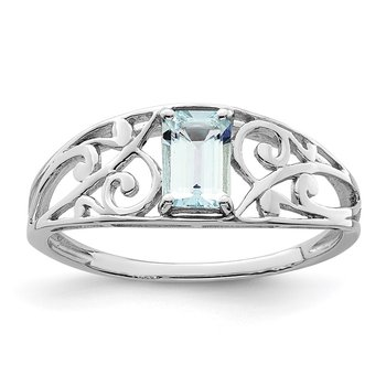 Sterling Silver Rhodium Plated Aquamarine Ring
