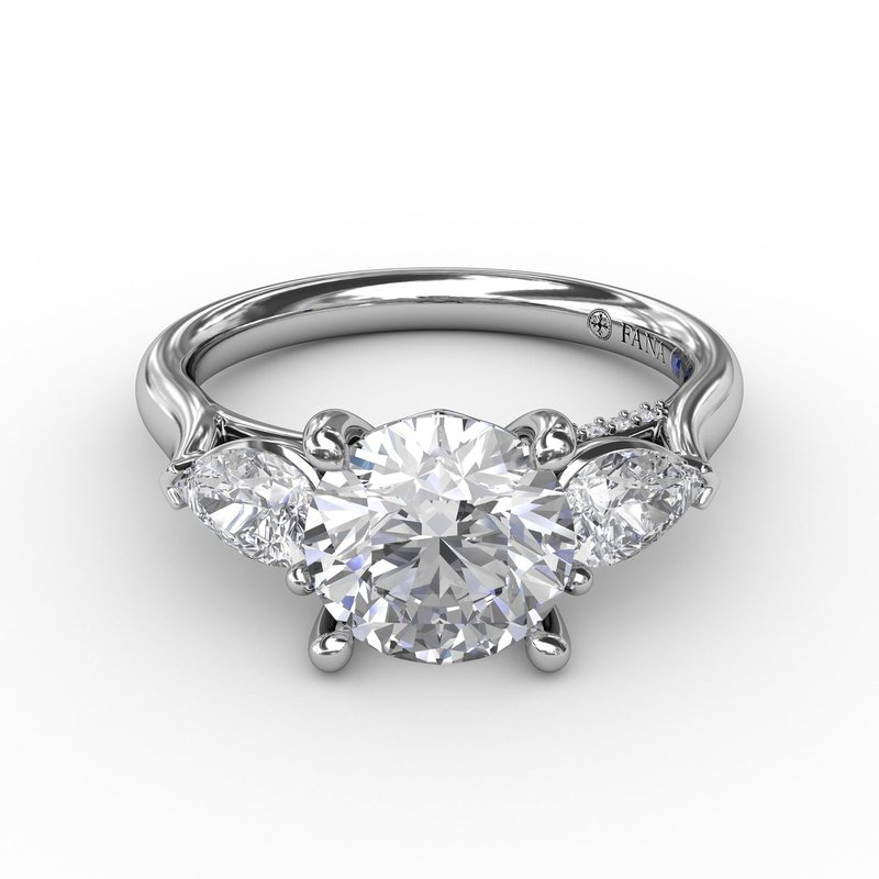 Fana Classic Three-Stone Engagement Ring With Pear-Shape Side Diamonds