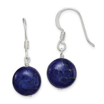 Sterling Silver Gold and Lapis Reconstructed Stone Earrings