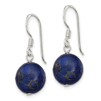 Sterling Silver Reconstructed Lapis Stone Earrings