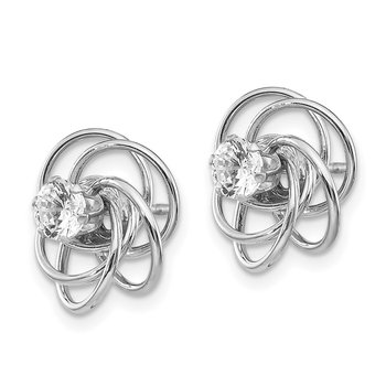 14k White Gold Fancy Knot with CZ Stud Earring Jackets