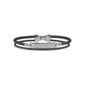 Black Cable ID Bracelet with 18kt White Gold & Diamonds