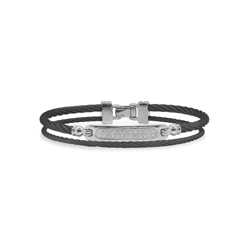 ALOR Black Cable ID Bracelet with 18kt White Gold & Diamonds