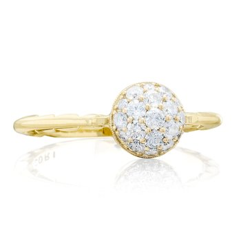 Petite Pavé Dew Drop Ring in Yellow Gold with diamonds