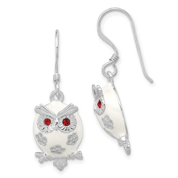 Sterling Silver Rhodium-plated Enamel Red CZ Owl Dangle Earrings