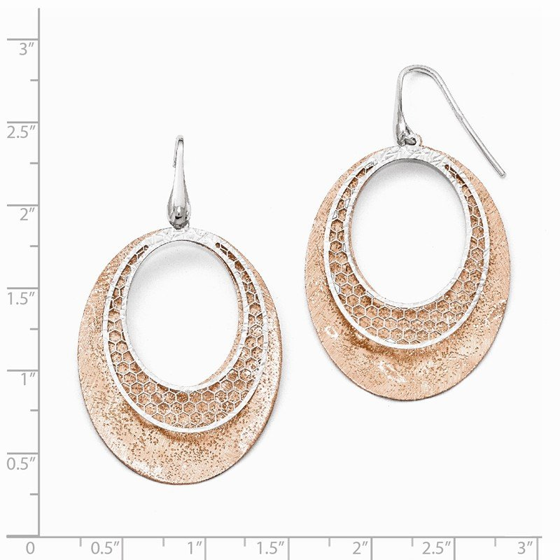 Leslie's Leslie's Sterling Silver Rose-tone Textured Dangle Earrings