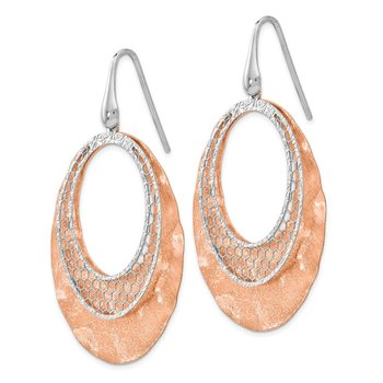 Leslie's Sterling Silver Rose-tone Textured Dangle Earrings