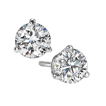 Martini Diamond Stud Earrings in 14K White Gold (1 1/4 ct. tw.) I1 - G/H
