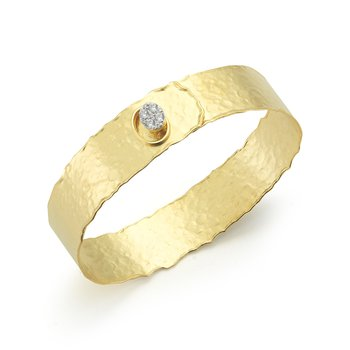 14K-Y NARROW BUTTON CUFF BR., 0.25CT
