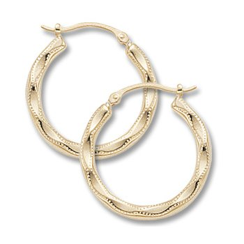 14kt Yel Hoop Earrings Scallop Embossed