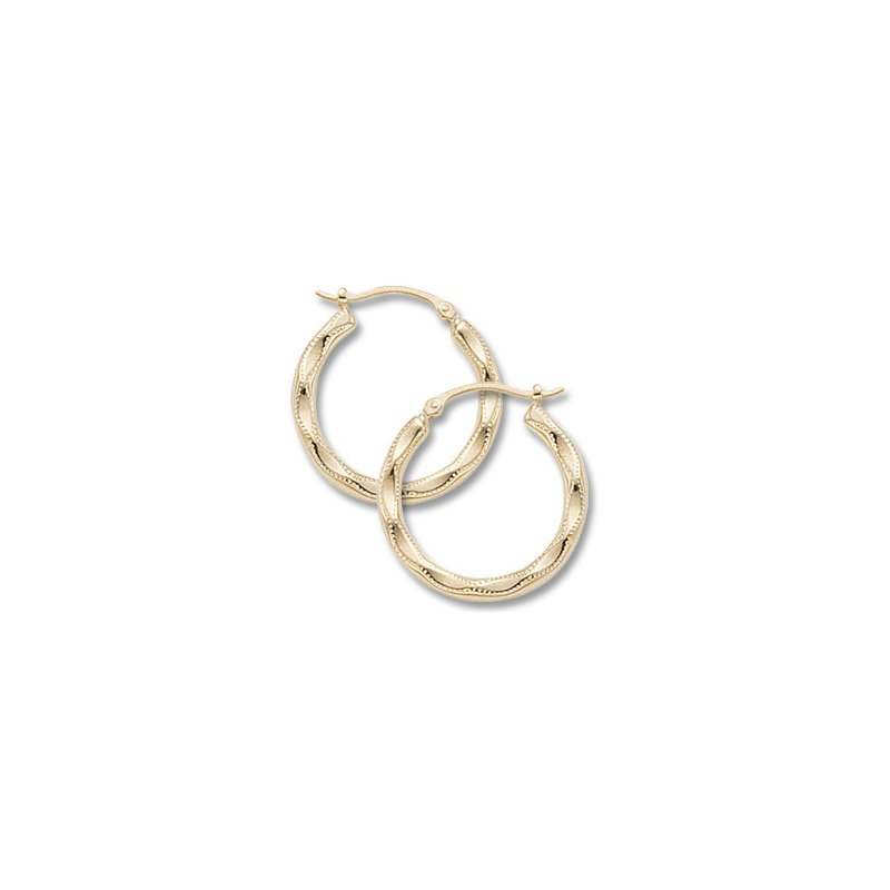 Carla 14kt Yel Hoop Earrings Scallop Embossed