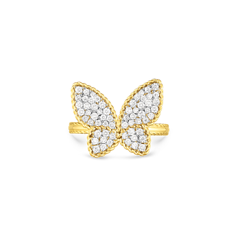 18Kt Gold Large Butterfly Ring With Diamonds