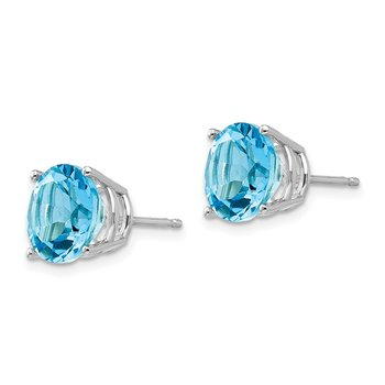 14k White Gold 9mm Blue Topaz Earrings