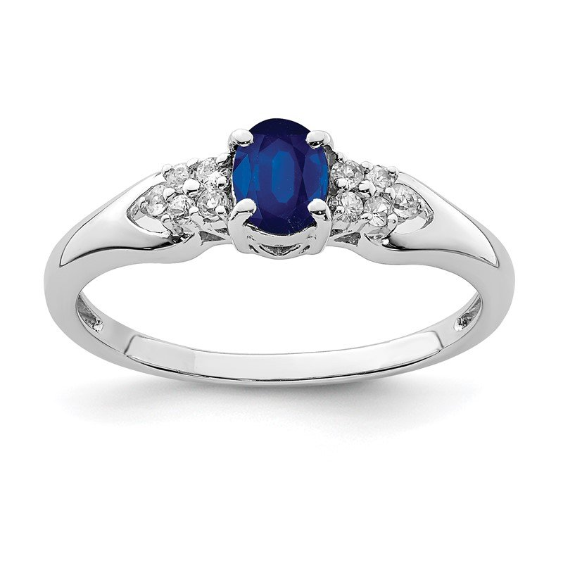 Quality Gold Sterling Silver Rhodium-plated Blue and White Sapphire Ring