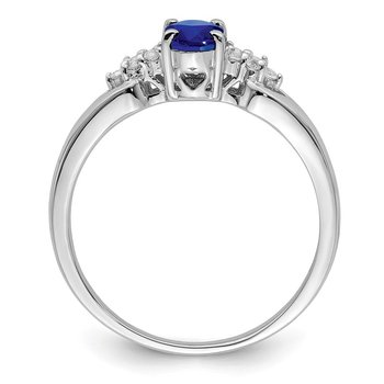 Sterling Silver Rhodium-plated Blue and White Sapphire Ring