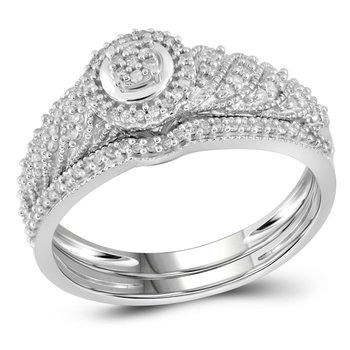 10kt White Gold Womens Round Diamond Cluster Bridal Wedding Engagement Ring Band Set 1/4 Cttw