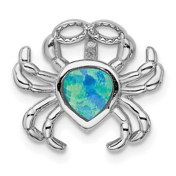Sterling Silver Rhodium-plated Blue Inlay Created Opal Crab Slide