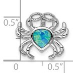 Quality Gold Sterling Silver Rhodium-plated Blue Inlay Created Opal Crab Slide