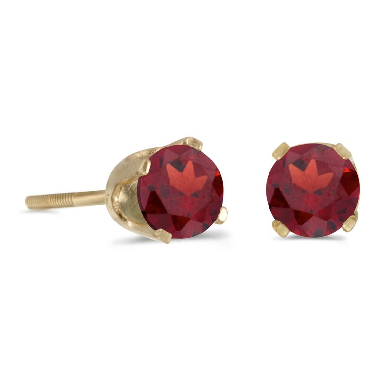 Color Merchants 4 mm Round Garnet Screw-back Stud Earrings in 14k Yellow Gold