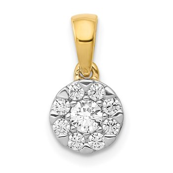14k White Gold 1/3ct. Diamond Circle Cluster Pendant