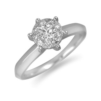 14K WG Diamond Cluster Galaxy Ring 1-1/4 Ct Look