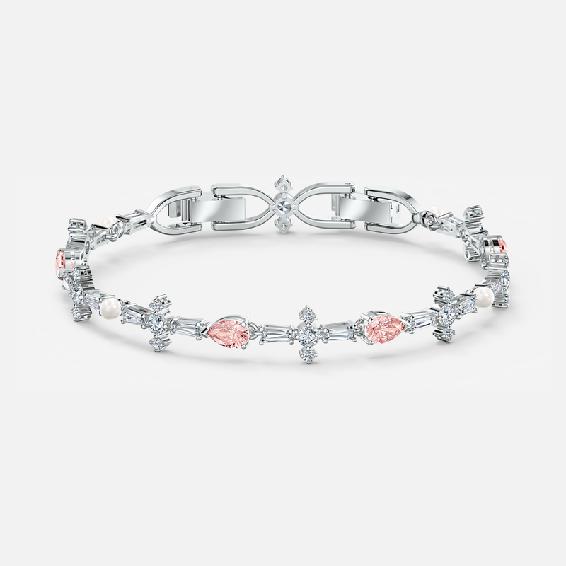 Swarovski Perfection Bracelet, Pink, Rhodium plated