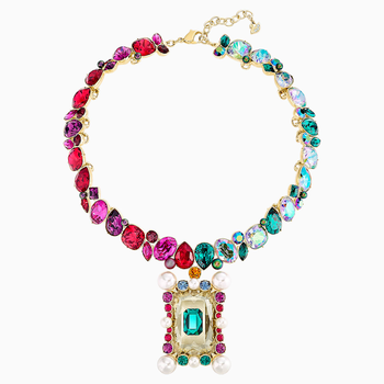 Vintage Opulescence Necklace, Multi-colored, Gold-tone plated