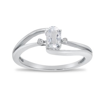 14k White Gold Oval White Topaz And Diamond Wave Ring
