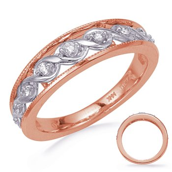 White & Rose Gold Diamond Wedding Band