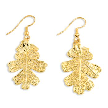 24k Gold Dipped Oak Leaf Gold-tone Dangle Earrings