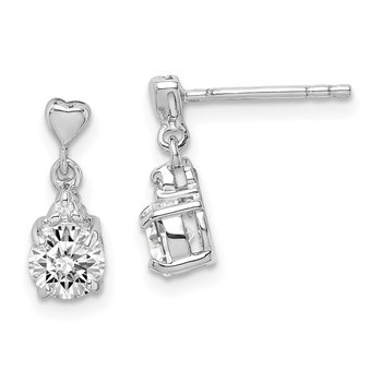 Sterling Silver Rhodium-plated CZ Post Dangle Earrings