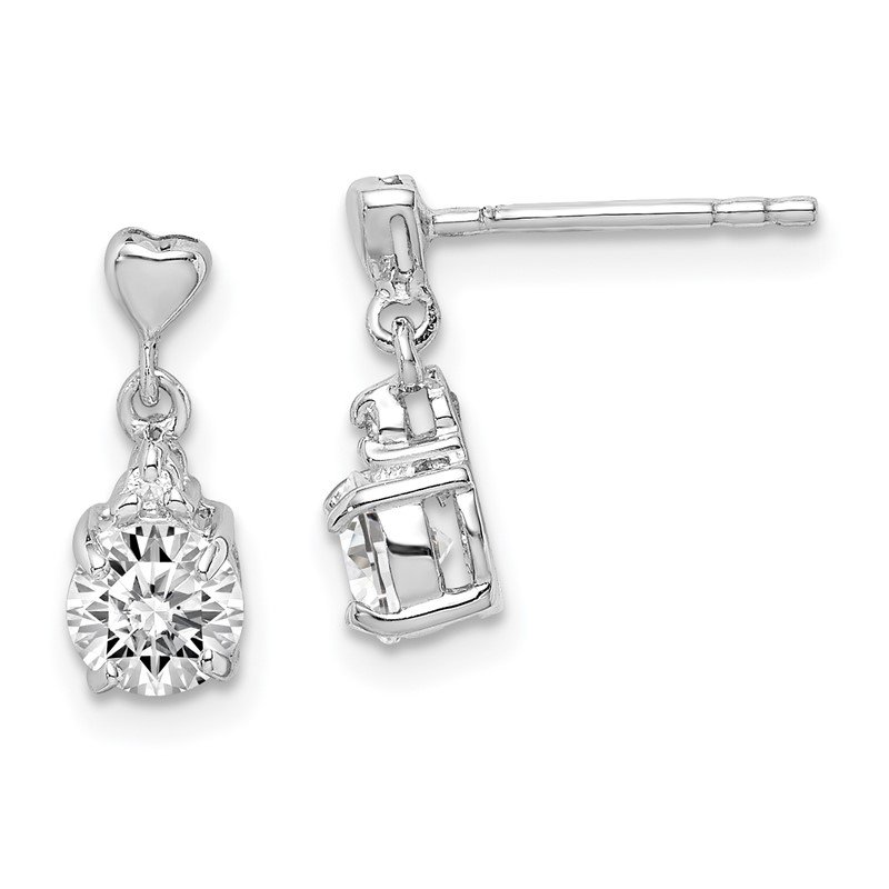 Quality Gold Sterling Silver Rhodium-plated CZ Post Dangle Earrings