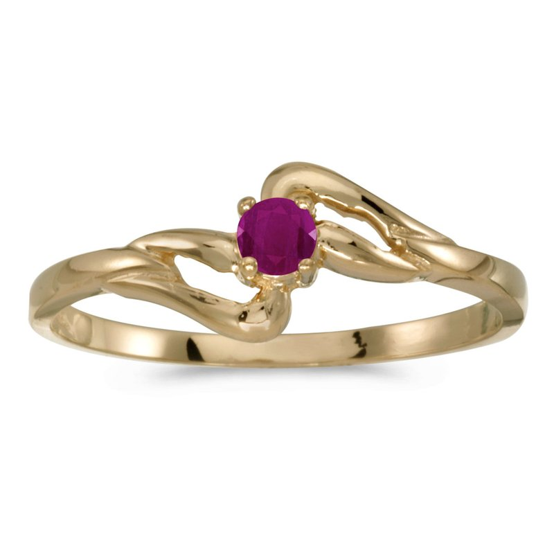 Color Merchants 10k Yellow Gold Round Ruby Ring