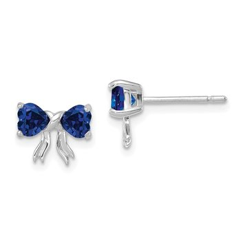 14k White Gold Polished Created Sapphire Bow Post Earrings