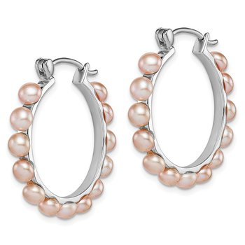 Sterling Silver Rhodium-plated 4-5mm Pink FWC Pearl Hoop Earrings