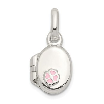 Sterling Silver Pink Enamel Oval Flower Locket Pendant