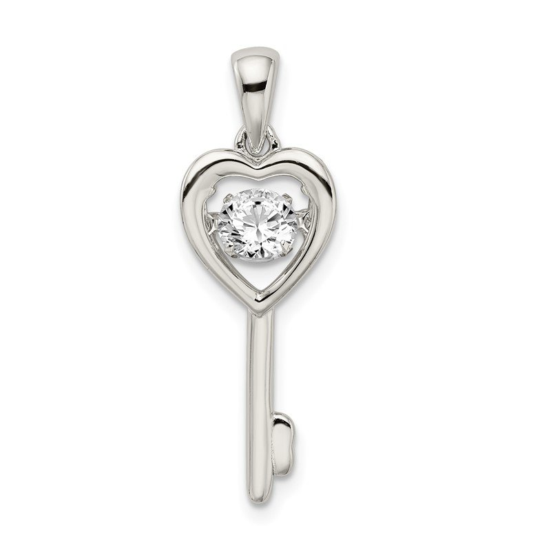 Quality Gold Sterling Silver Platinum Plated Vibrant Swar Zirconia Heart Key Pendant
