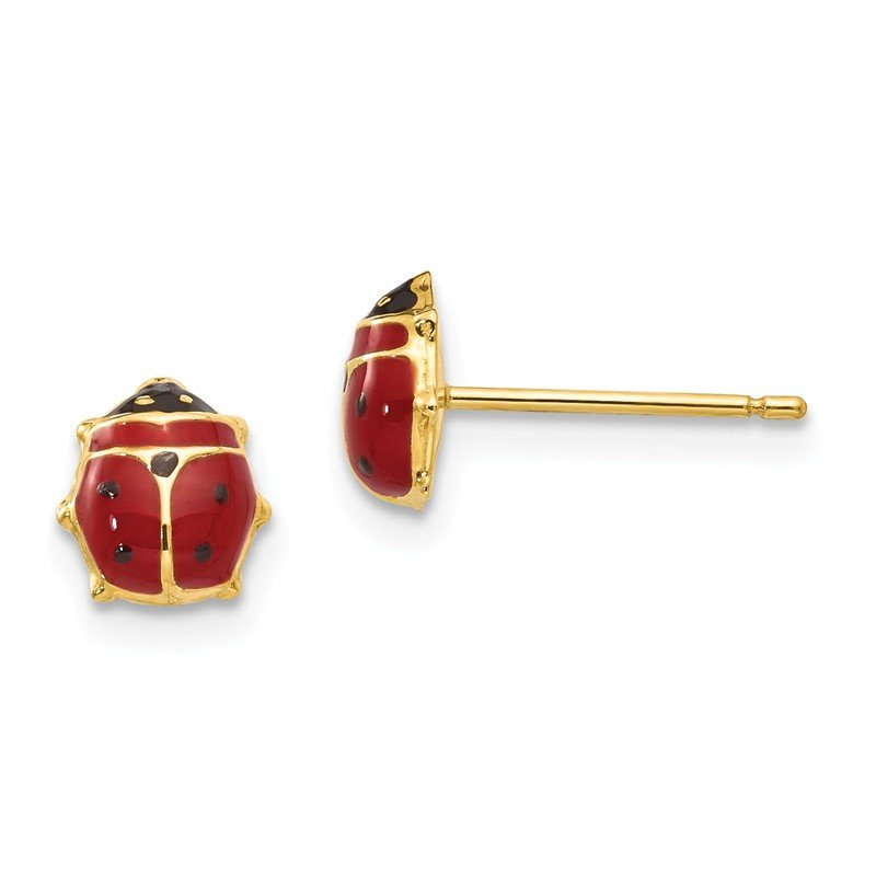 Quality Gold 14k Enameled Ladybug Post Earrings