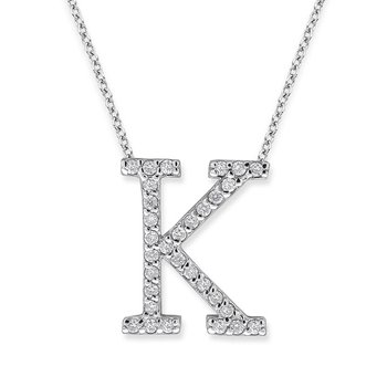 "Diamond All Star Initial ""K"" Necklace in 14K White Gold with 31 diamonds weighing .31ct tw."