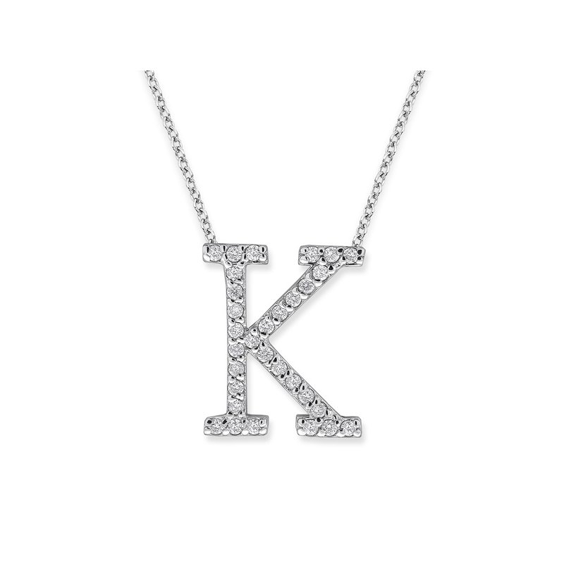 "KC Designs Diamond All Star Initial ""K"" Necklace in 14K White Gold with 31 diamonds weighing .31ct tw."