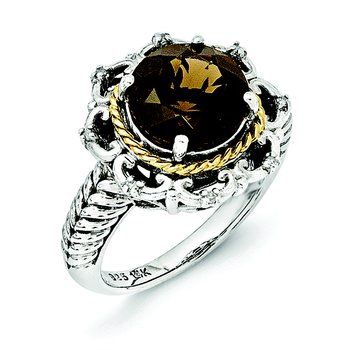 Sterling Silver w/14k Antiqued Smoky Quartz and Diamond Ring