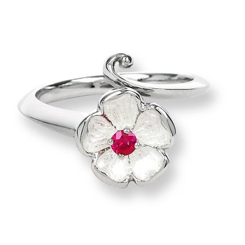 White Rose Ring.Sterling Silver-Ruby