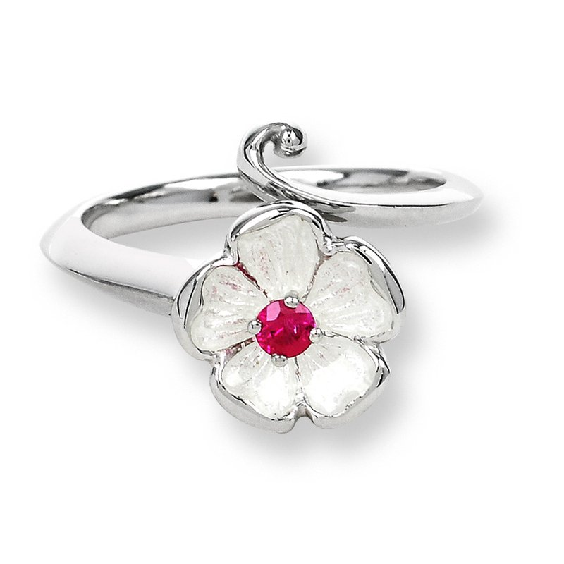 Nicole Barr Designs White Rose Ring.Sterling Silver-Ruby