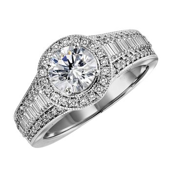 14K Diamond Engagement Ring 5/8 ctw With 1 ct Center