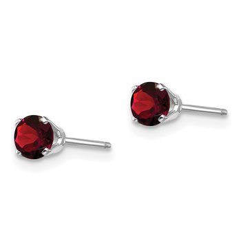 14k White Gold 4mm Garnet Stud Earrings