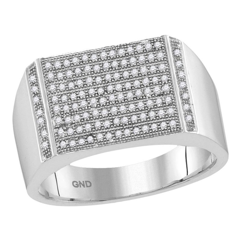 Kingdom Treasures 10kt White Gold Mens Round Pave-set Diamond Rectangle Cluster Ring 1/3 Cttw