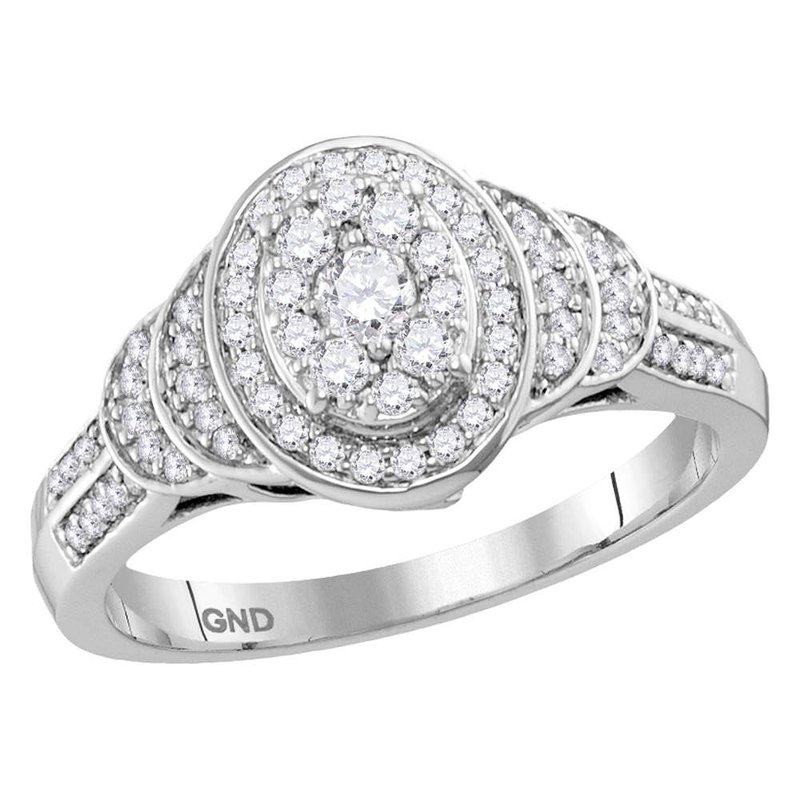 Gold-N-Diamonds, Inc. (Atlanta) 10kt White Gold Womens Round Diamond Solitaire Oval Cluster Ring 1/2 Cttw