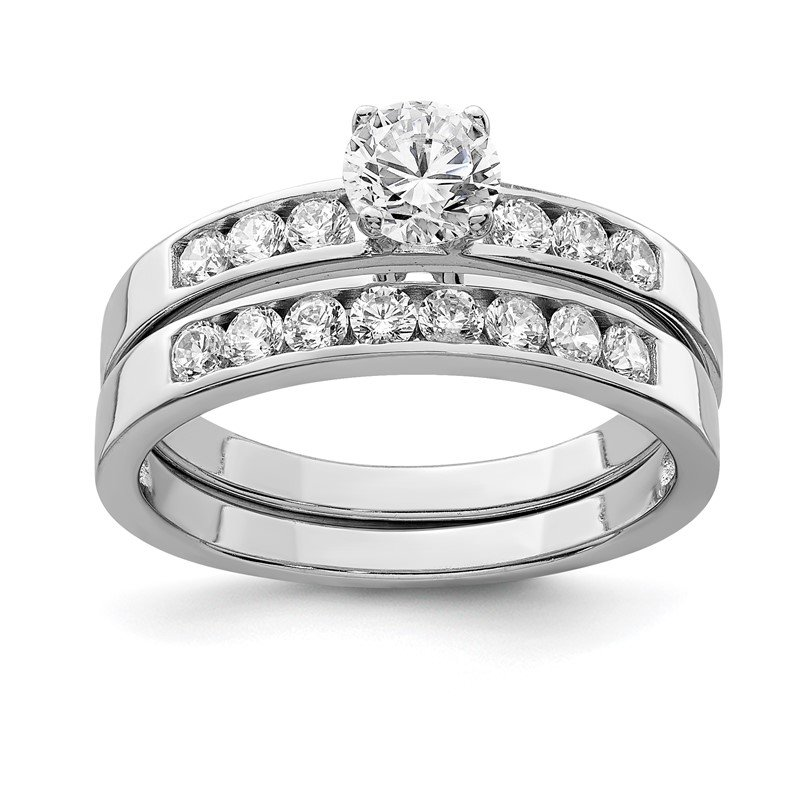 Quality Gold Sterling Silver Rhodium-plated CZ Ring Set