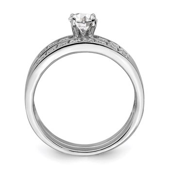 Sterling Silver Rhodium-plated CZ Ring Set