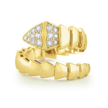 14k Bold Gold and Diamond Snake Ring